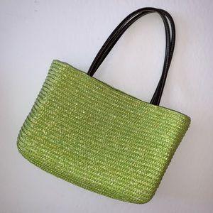 Green Wheat Straw Mini Beach Bag Boho Purse